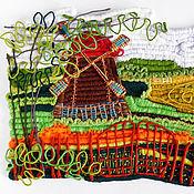 """Картины и панно ручной работы. Ярмарка Мастеров - ручная работа Декоративное панно """" Пейзаж с мельницей"""". Handmade."""