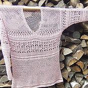 Одежда ручной работы. Ярмарка Мастеров - ручная работа Пуловер вязаный крючком Лето лён-хлопок-вискоза. Handmade.