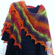 Аксессуары handmade. Livemaster - original item Fishnet knitted shawl wool Shawl shawl knitting. Handmade.