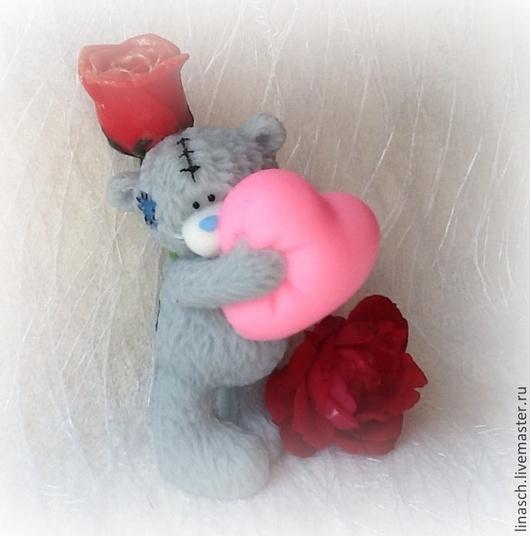 Мыло ручной работы. Ярмарка Мастеров - ручная работа. Купить Мишутка с розой. Handmade. Ярко-красный, сувениры и подарки