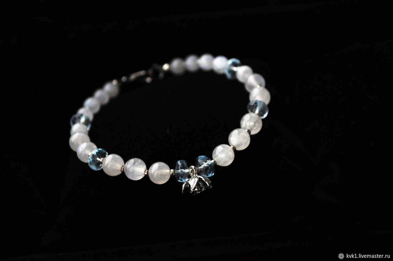 Elegant female bracelet made of blue Topaz and moonstone and, Bead bracelet, Moscow,  Фото №1