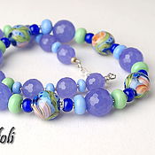Necklace handmade. Livemaster - original item Short beads, stones Cornflowers. Handmade.