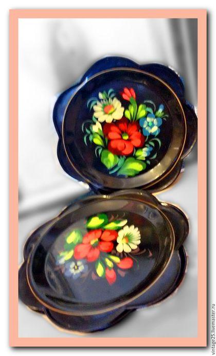 Винтажная посуда. Ярмарка Мастеров - ручная работа. Купить Подносы Жостово набор из 6 штук. Handmade. Комбинированный, жостово подносы