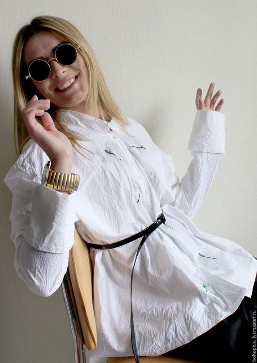Блузки ручной работы. Ярмарка Мастеров - ручная работа. Купить Белая хлопковая блузка Стрекоза2. Handmade. Белый, блуза, бохо