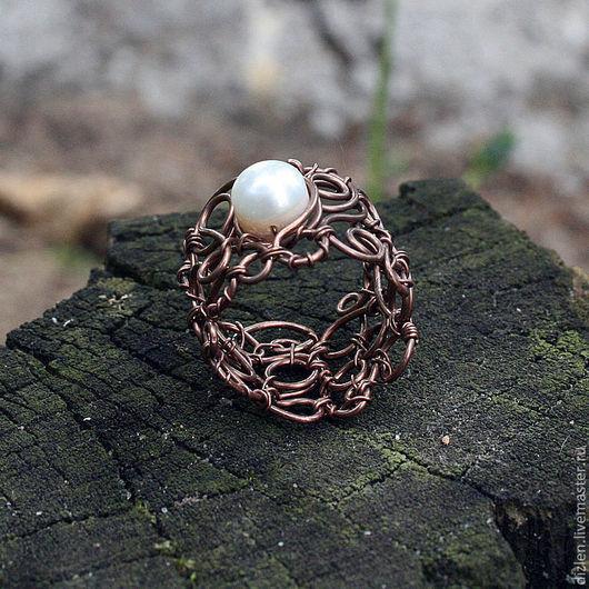Кольца ручной работы. Ярмарка Мастеров - ручная работа. Купить Ажурное кольцо. Handmade. Коричневый, медь