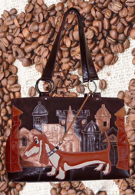 """Женские сумки ручной работы. Ярмарка Мастеров - ручная работа. Купить Кожаная сумка """"Кофейное настроение"""" 3 отдела.. Handmade."""