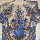 Блузка из павловопосадских платков Весеннее утро голубые цветы. Уютная комфортная, нарядная, рукав летучая мышь, р.46-52