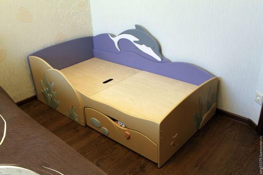 """Детская ручной работы. Ярмарка Мастеров - ручная работа. Купить Кровать """"Морская"""". Handmade. Синий, волны, для детей"""