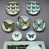 Посуда handmade. Livemaster - original item Painted porcelain saucers Set of 7 PCs Butterflies on the wall. Handmade.