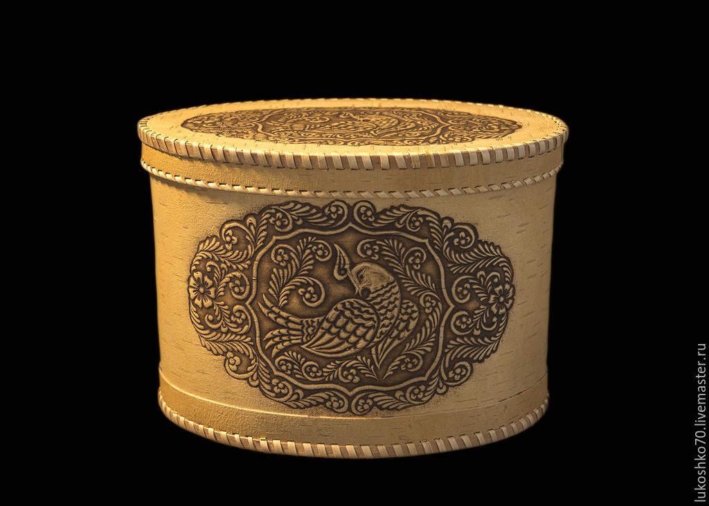 The birch bark oval box from the Firebird. Storage of bread products, The bins, Tomsk,  Фото №1