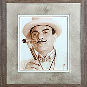 Картины и панно handmade. Livemaster - original item Cross stitch Hercule Poirot. Handmade.