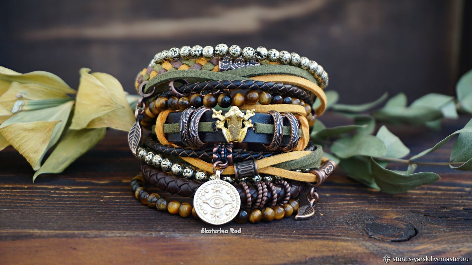 Multi-layer bracelet in the style of BOHO ' With a money toad', Bead bracelet, Moscow,  Фото №1