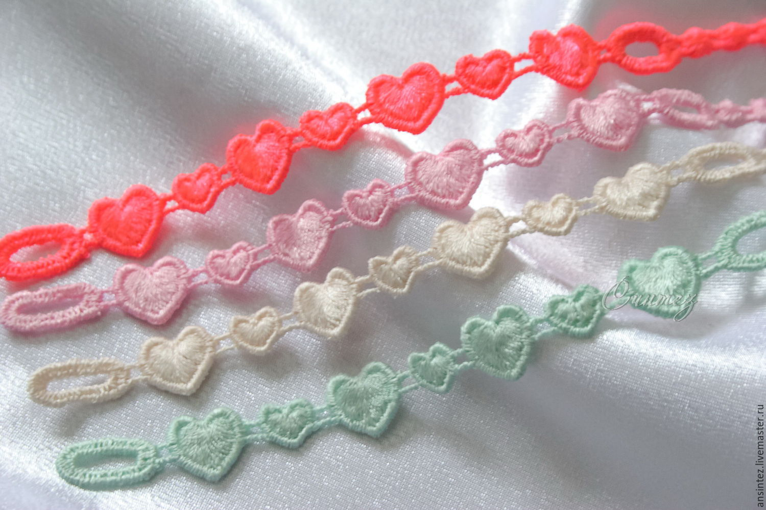 bracelets embroidered Funny Hearts set 4pcs. openwork embroidery, Bracelet set, Moscow,  Фото №1