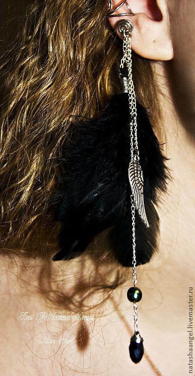 """Каффы ручной работы. Ярмарка Мастеров - ручная работа. Купить Кафф """"Темный Ангел"""" (черные серьги перья, серебро черный цвет, готика). Handmade."""