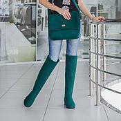 Обувь ручной работы. Ярмарка Мастеров - ручная работа Валяные ботфорты и сумка Emerald. Handmade.
