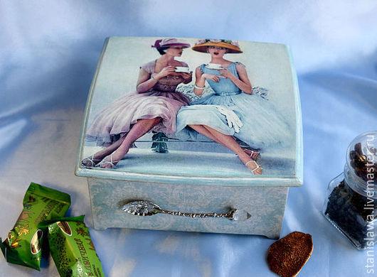 """Кухня ручной работы. Ярмарка Мастеров - ручная работа. Купить Чайный короб """"За чашкой чая"""". Handmade. Голубой, чаепитие"""