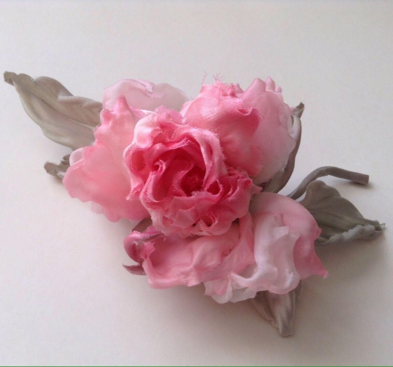 Цветы из шёлка. Розочка в стиле шебби, Броши, Москва, Фото №1