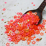Материалы для творчества handmade. Livemaster - original item Sequins: curly 4 mm Neon with rainbow coating 2 gr.. Handmade.