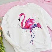 Одежда ручной работы. Ярмарка Мастеров - ручная работа Толстовка женская Розовый фламинго ручная роспись. Handmade.