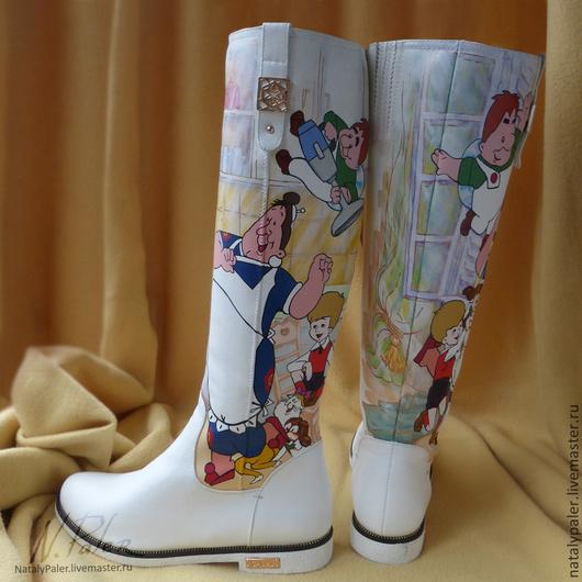 """Обувь ручной работы. Ярмарка Мастеров - ручная работа. Купить Роспись по обуви. Сапоги """"Малыш и Карлсон"""". Handmade. Сапоги"""