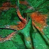 Аксессуары handmade. Livemaster - original item Silk scarf women`s green neck with a red satin jacquard single instance. Handmade.