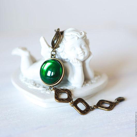 """Браслеты ручной работы. Ярмарка Мастеров - ручная работа. Купить Браслет винтажный """"Зелень Версаля"""" зеленый. Handmade. Тёмно-зелёный"""
