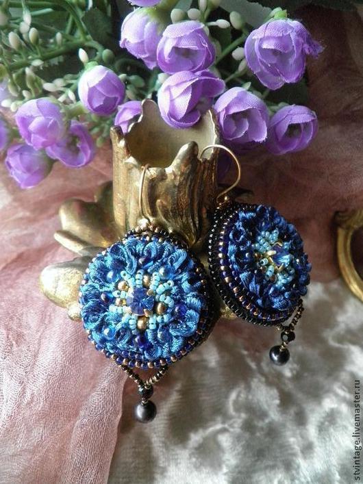 """Серьги ручной работы. Ярмарка Мастеров - ручная работа. Купить Вышитые серьги """"Blue flower"""". Handmade. Тёмно-синий"""