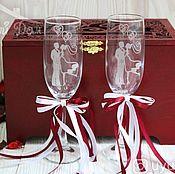 Свадебный салон handmade. Livemaster - original item Wedding glasses with initials of the newlyweds. Handmade.