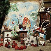 Подарки к праздникам ручной работы. Ярмарка Мастеров - ручная работа Скворечневая деревенька - набор елочных украшений. Handmade.