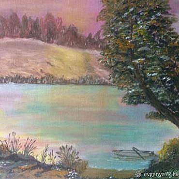 Картины и панно ручной работы. Ярмарка Мастеров - ручная работа Картина   Закат на реке. Handmade.