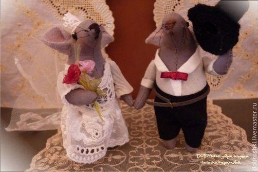 Мышиная свадьба.Две мышки-малышки по 10 и 11 см.Текстильная игрушка. Куприянова Наталия. Добрушки-добрые игрушки.