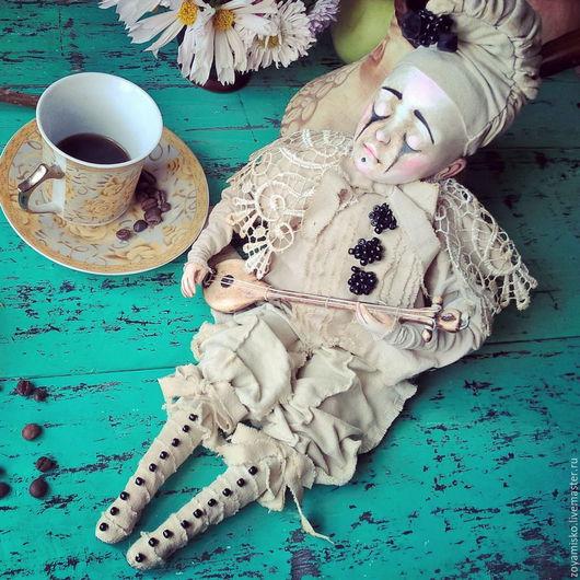 Коллекционные куклы ручной работы. Ярмарка Мастеров - ручная работа. Купить Pierrot. Комедия дель арте. Авторская коллекционная уникальная кукла. Handmade.
