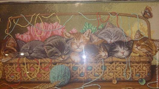 """Животные ручной работы. Ярмарка Мастеров - ручная работа. Купить Вышитая картина """"Kitty Litter"""". Handmade. Картина крестиком"""