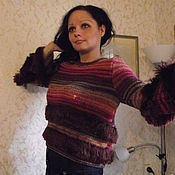 """Одежда ручной работы. Ярмарка Мастеров - ручная работа Пуловер вязаный """"Гроздья рябины """". Handmade."""
