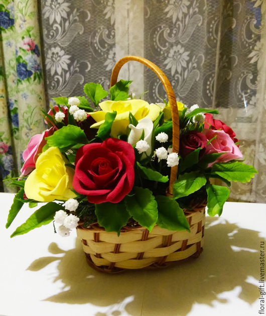 Интерьерные композиции ручной работы. Ярмарка Мастеров - ручная работа. Купить Нежные разноцветные розы с жемчужницей. Handmade. Комбинированный