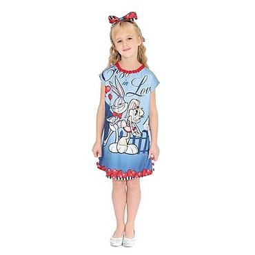 Работы для детей, ручной работы. Ярмарка Мастеров - ручная работа Платье (туника) для девочки из голубого шелкового платка  и трикотажа. Handmade.