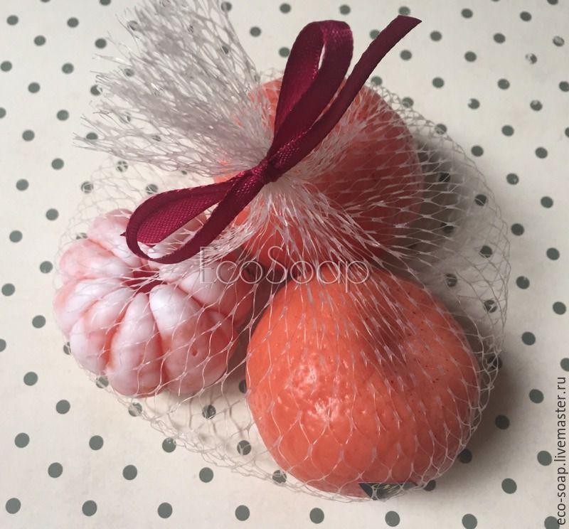 Мыло ручной работы.  Набор `Мандарины (в сетке)`. Handmade. Купить Мыло ручной работы Мандарин, новогоднее мыло.
