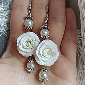 Свадебный салон handmade. Livemaster - original item Frosty rose earrings (24). Handmade.