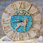 """Для дома и интерьера ручной работы. Ярмарка Мастеров - ручная работа Настенные часы """"Дог на голубом"""". Handmade."""