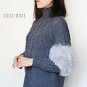 Одежда handmade. Livemaster - original item Women`s sweater long gray with fur trim. Handmade.