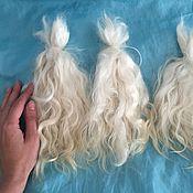 Материалы для творчества ручной работы. Ярмарка Мастеров - ручная работа Волосы для кукол белые МЫТЫЕ, коза (пряди/кудри/локоны). Handmade.