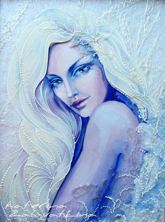 """Фэнтези ручной работы. Ярмарка Мастеров - ручная работа. Купить Картина на стекле """"Снежный ангел"""". Handmade. Белый, авторская техника"""