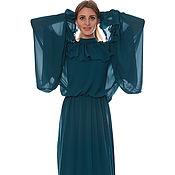 """Одежда ручной работы. Ярмарка Мастеров - ручная работа Платье """"Грета Гарбо"""" морская волна. Handmade."""