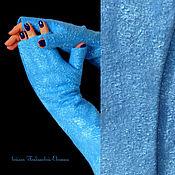Аксессуары ручной работы. Ярмарка Мастеров - ручная работа Валяные митенки Синяя птица. Handmade.