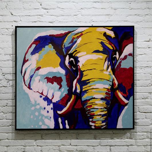 """Животные ручной работы. Ярмарка Мастеров - ручная работа. Купить """"слон"""". Handmade. Комбинированный, слоник, слон, картина в подарок"""