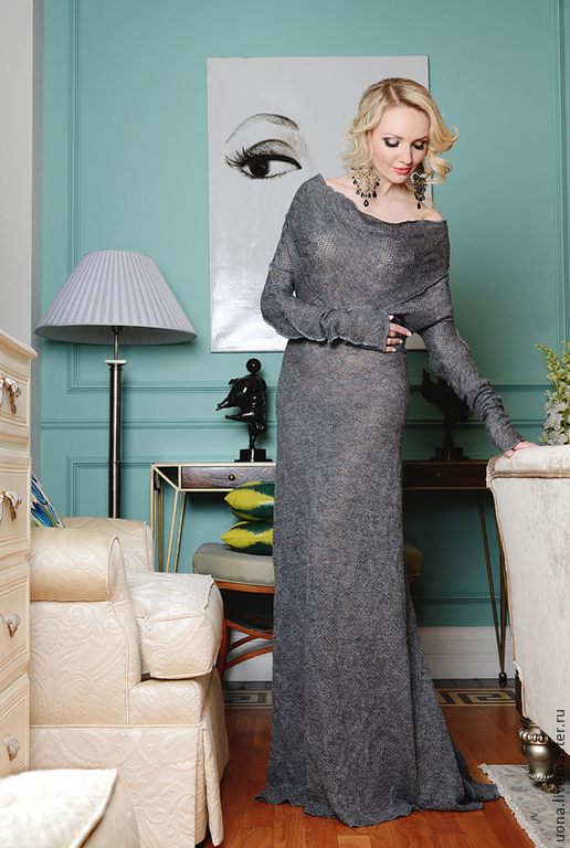 Платья ручной работы. Ярмарка Мастеров - ручная работа. Купить Стильное платье-свитер. Handmade. Однотонный, вязаное платье