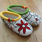 """Обувь ручной работы. Ярмарка Мастеров - ручная работа Домашние тапочки """"Графика Nr.1"""". Handmade."""