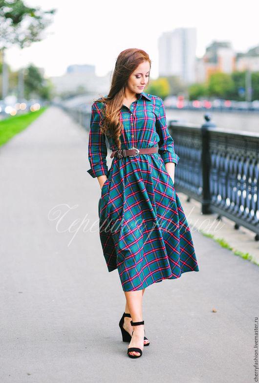 """Платья ручной работы. Ярмарка Мастеров - ручная работа. Купить СКИДКА-30% Платье - рубашка """"Кристи"""". Handmade. Тёмно-зелёный"""