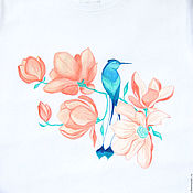 Одежда handmade. Livemaster - original item T-shirt,picture on tshirt,Magnolia,Hummingbird. Handmade.