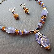 Украшения handmade. Livemaster - original item Lavender honey. Necklace and earrings with amethyst and amber. Handmade.